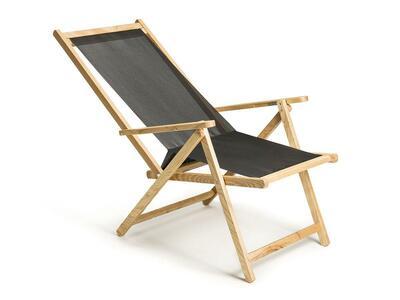 Sdraio reclinabile e richiudibile in frassino con telo e cuscino intercambiabili Mod. Demetra