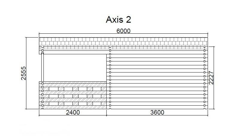 Casetta in legno 4,00 m x 6,00 m - Mod. Nadine  - 44 mm