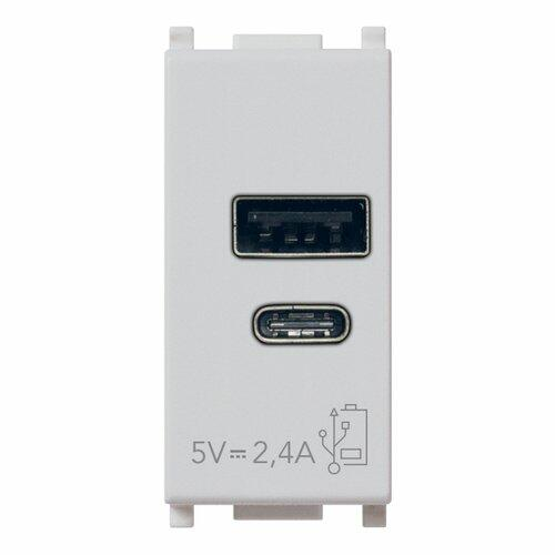 14292.AC.SL ALIMENTATORE USB A+C 5V 2,4A 1M SILVER PLANA