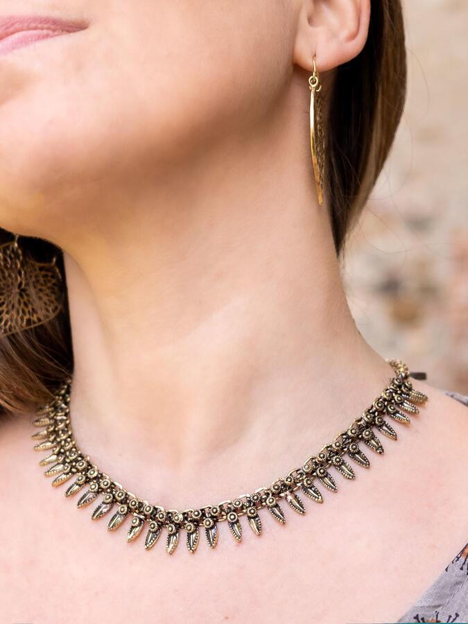 Collana donna corta in ottone etnica in ottone