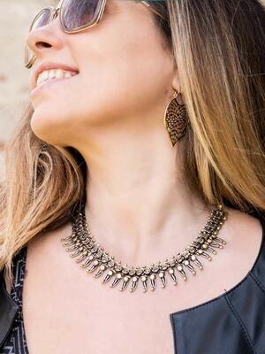 Collana donna corta stile etnico con pendenti