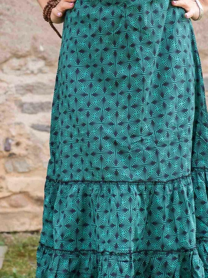 Vestito donna lungo Ganga a balze orizzontali - verde acqua