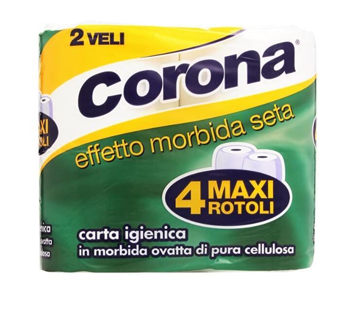 Corona - Carta Igienica, In Morbida Ovatta di Pura Cellulosa, 2 veli, Effetto Morbida Seta - 4 Rotoli