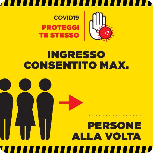 """Tabella adesiva """"Ingresso consentito max"""""""