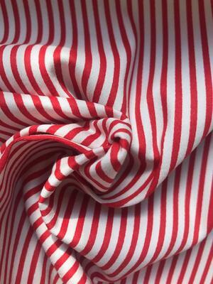 Gabardine di cotone - righe rosse e bianche