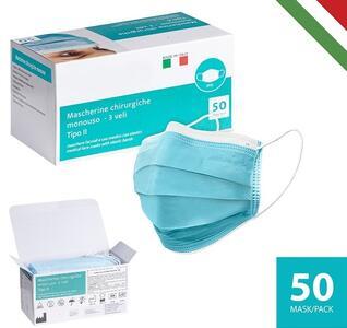 50 Mascherine chirurgiche facciali uso medico tipo II
