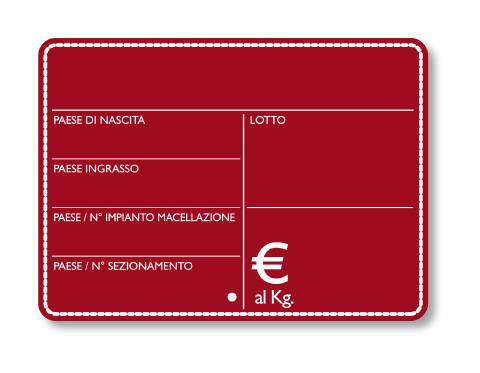 """25 Segnaprezzi lavagnetta rossa """"macelleria"""" cm. 10,5x8"""