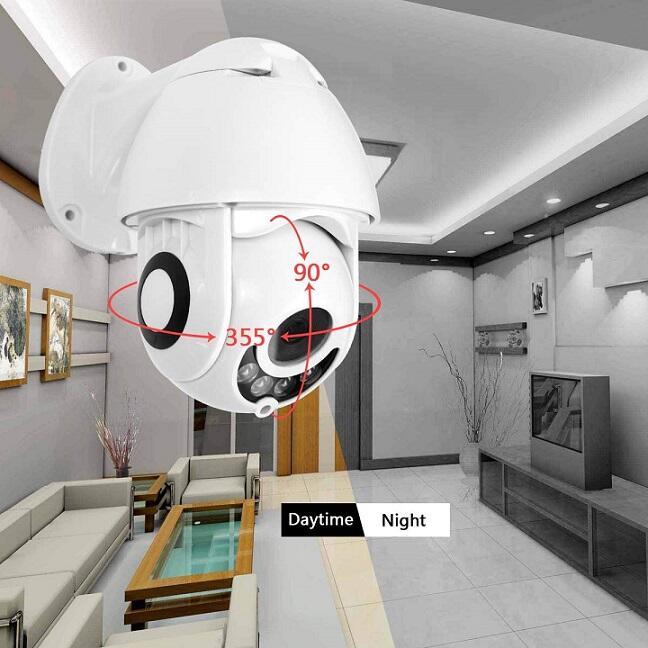 Telecamera 355° sensore di Movimento, Interfono Vocale Bidirezionale, 30M Visione Notturna, IP66 Impermeabile