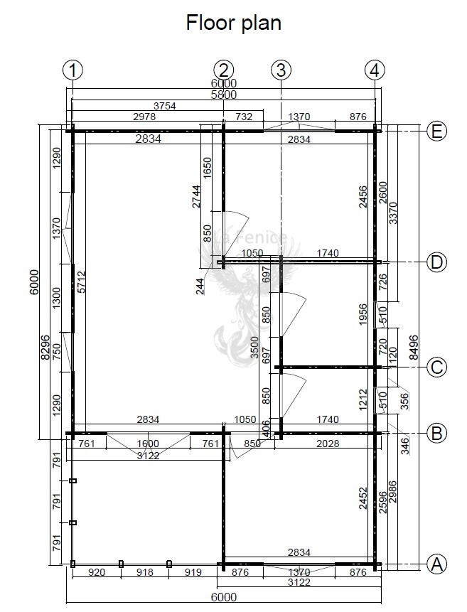 Casetta in legno 6,00 m x 8,50 m - Mod. Laura - 44 mm