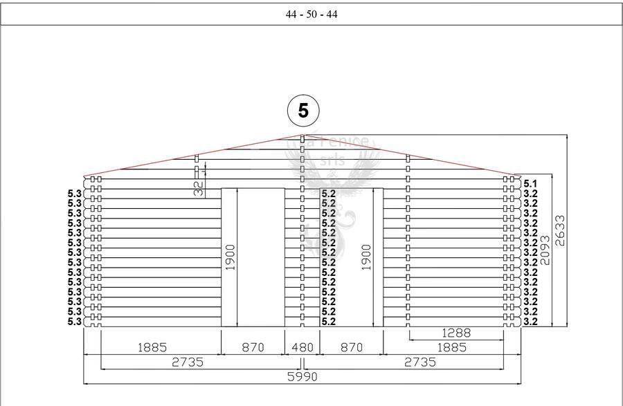 Casetta in legno 6,00 m x 6,00 m - Mod. Romina - 44+50+44 mm