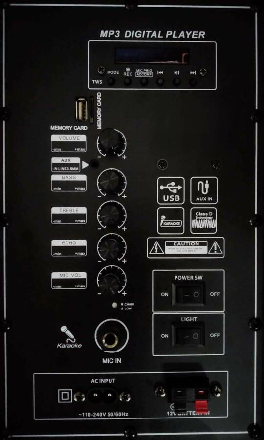 Cassa bluetooth Karaoke portatile 100w ingresso microfono AUX USB TF MKA12