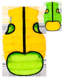 Airyvest M 50 cm Giallo Verde Cappottino Piumino Per Cani Impermeabile Cappotto