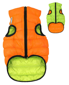 Airyvest L 55 cm Arancione Verde Cappottino Piumino Per Cani Impermeabile Cappotto