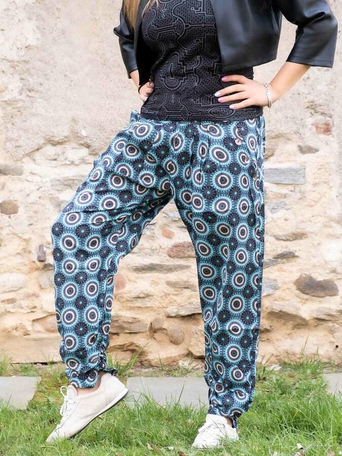 Pantalone donna Kunda a sigaretta retro elasticizzato - geometrico turchese