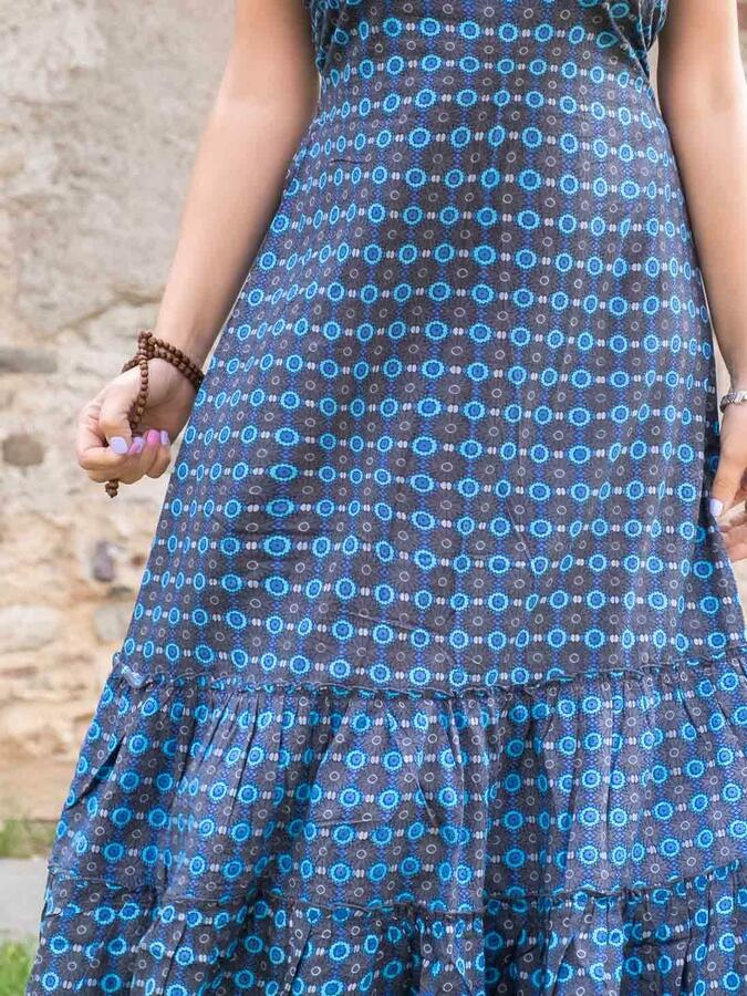 Vestito donna lungo Ganga a balze orizzontali - blu fiorato