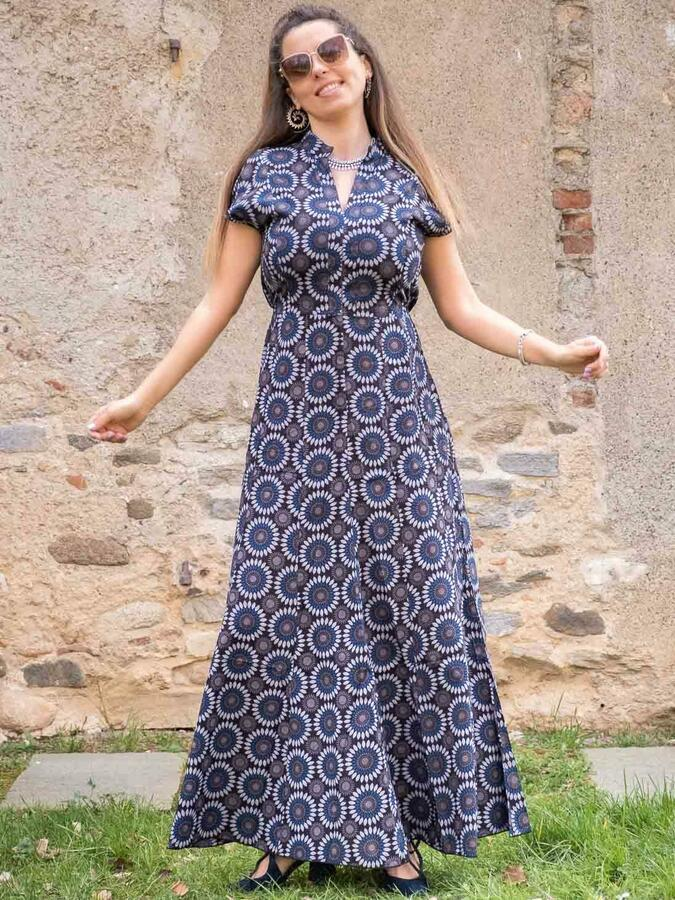 Vestito donna lungo Jagrati maniche a sbuffo - fiorato blu grigio