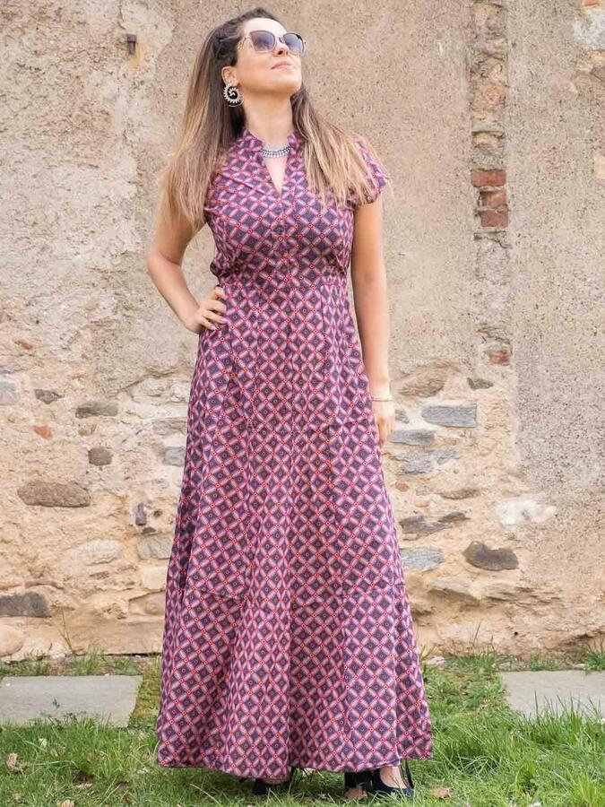 Vestito donna lungo Jagrati maniche a sbuffo - cerchi rosso blu