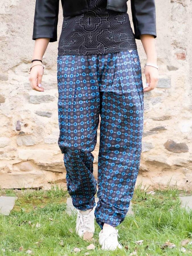 Pantalone donna Kunda a sigaretta retro elasticizzato - blu fiorato