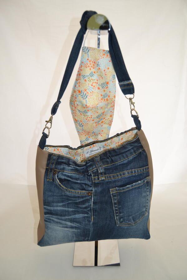 Borsa ricavata da jeans con inserti in similpelle tortora pezzo unico
