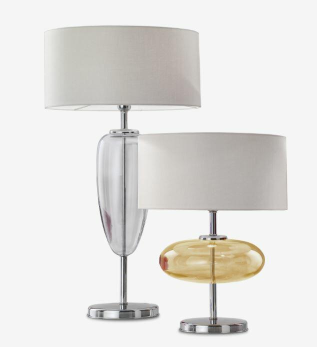 Lampada da Tavolo SHOW Piccola a Ellisse di Zafferano Bespoke in Vetro di Murano e Metallo Cromato, Varie Finiture - Offerta di Mondo Luce 24