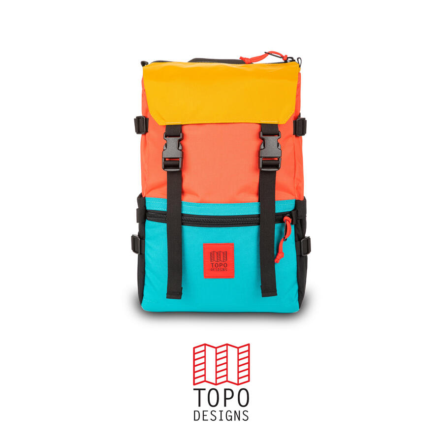 Topo Design Rover Pack - Hot Coral/Turquoise/Mustard