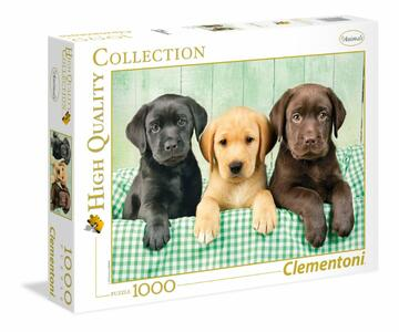 PUZZLE 1000 PEZZI HIGH QUALITY COLLECTION I TRE LABRADOR 69 X 50 CM CLEMENTONI