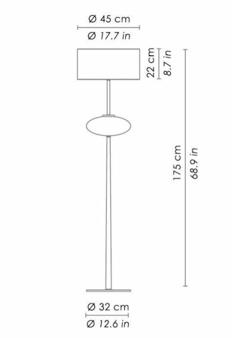 Lampada da Terra SHOW a Ellisse di Zafferano Bespoke in Vetro di Murano e Metallo Cromato, Varie Finiture - Offerta di Mondo Luce 24