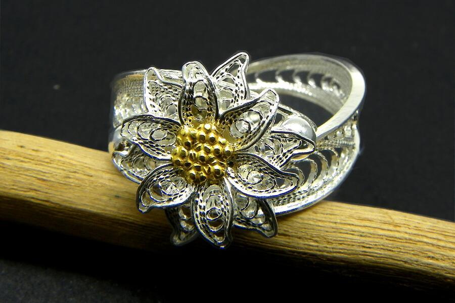 Anello Edelweiss filigrana argento p.