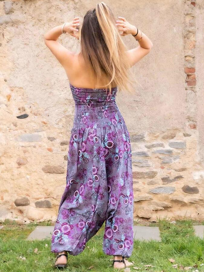Vestito tuta donna lungo Yamuna stile Aladino - fiorato lilla