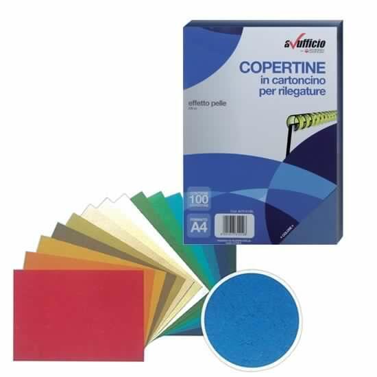 COPERTINE IN CARTONCINO EFFETTO PELLE A4 230 GRAMMI NERE CONFEZIONE 100 PZ AVUFFICIO