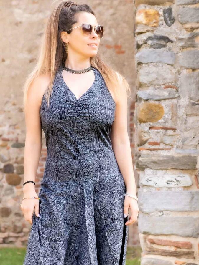 Vestito tuta donna lungo Yamuna stile Aladino - grigio scuro