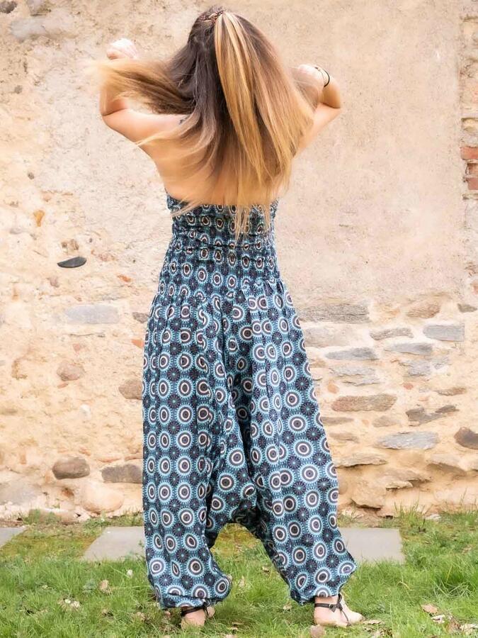Vestito tuta donna lungo Yamuna stile Aladino - geometrico turchese