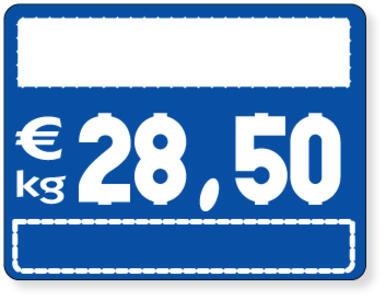 25 Segnaprezzi fondo blù per numeri ad incastro cm. 10,5x8