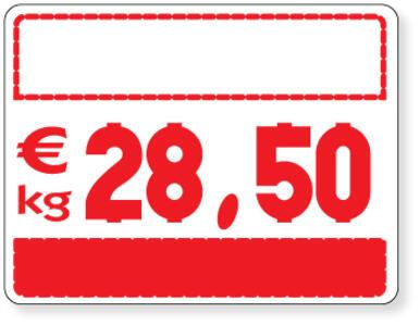 25 Segnaprezzi fondo bianco/rosso per numeri ad incastro cm. 10,5x8