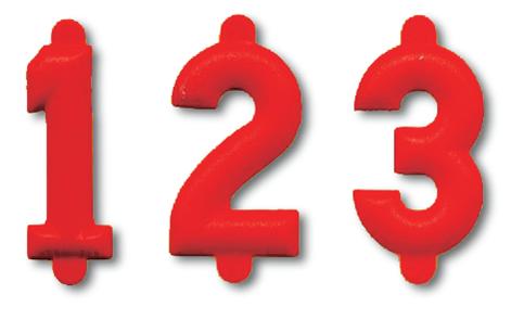 25 Cifre numeriche rosse ht. cm. 2,5
