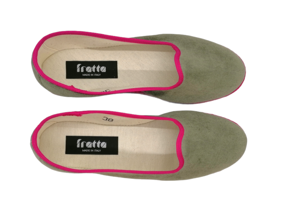 Friulana Fratta - 205 Bi-Color - Velluto Verde Oliva - Gro Fuchsia