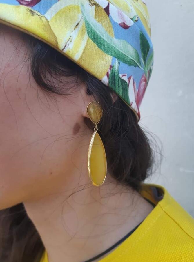 Orecchini pendenti giallo