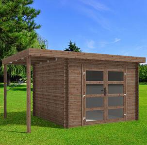 Casetta in legno con Pavimento 4,10 m x 3,00 m - Mod. Bari - 28mm - Impregnata in autoclave - TRASPORTO INCLUSO