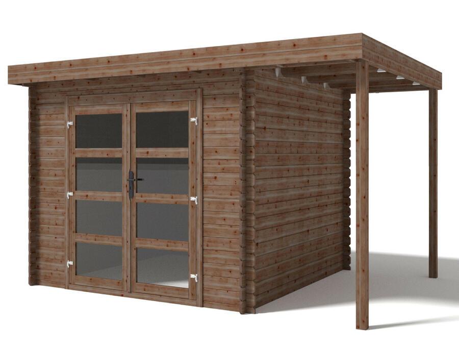 Casetta in legno con Pavimento 4,10 m x 3,00 m - Mod. Bari - 28mm - Impregnata in autoclave - TRASPORTO e COPERTURA IN EPDM INCLUSI
