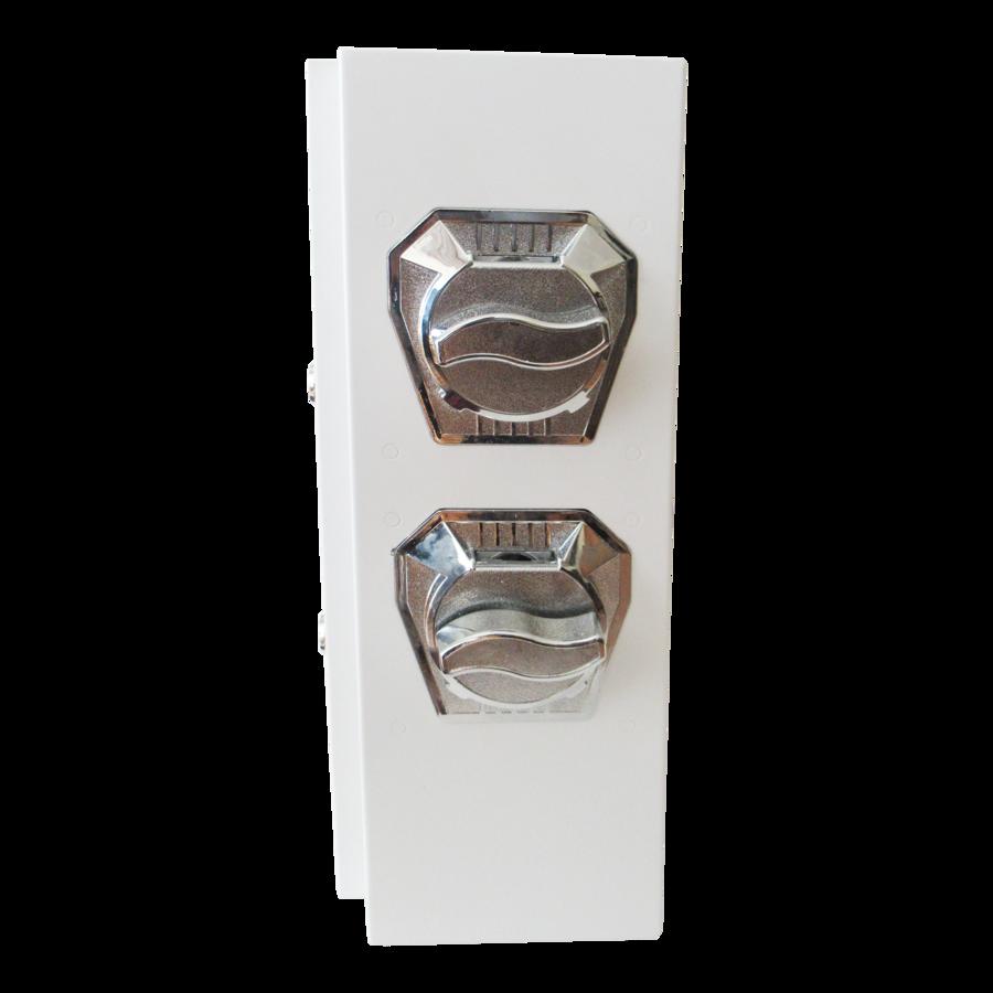 Distributore di piccoli prodotti con Gettoniera meccanica (1 fila a 1 Euro e 1 fila a 50 Cent)