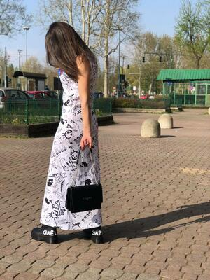 Maxi dress Gaelle bianco stampe rock