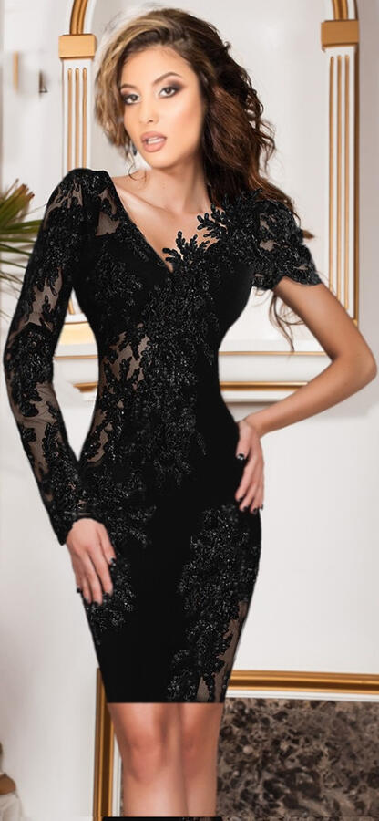 0633 TUBE DRESS IN ELASTIC CREPE FABRIC WITH TRANSPARENCIES IN TULLE AND MACRAME '