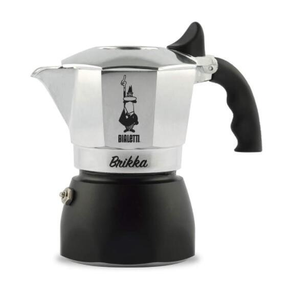 Bialetti New Brikka, Caffettiettiera in Alluminio per caffè con Doppia Crema, 2 Tazze