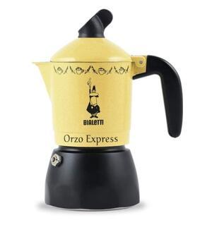 Bialetti Moka Orzo Express Caffettiera con Orziera, Alluminio, Giallo, 2 Tazze