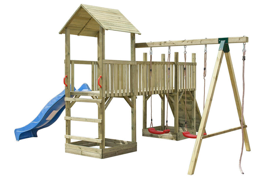 Torre doppia in legno impregnato in autoclave con altalena e scivolo TRASPORTO INCLUSO