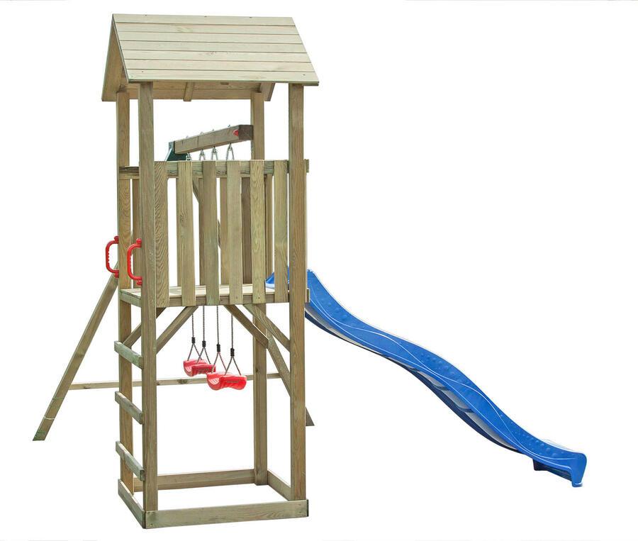 Torre singola in legno impregnato in autoclave con scivolo e altalena TRASPORTO INCLUSO