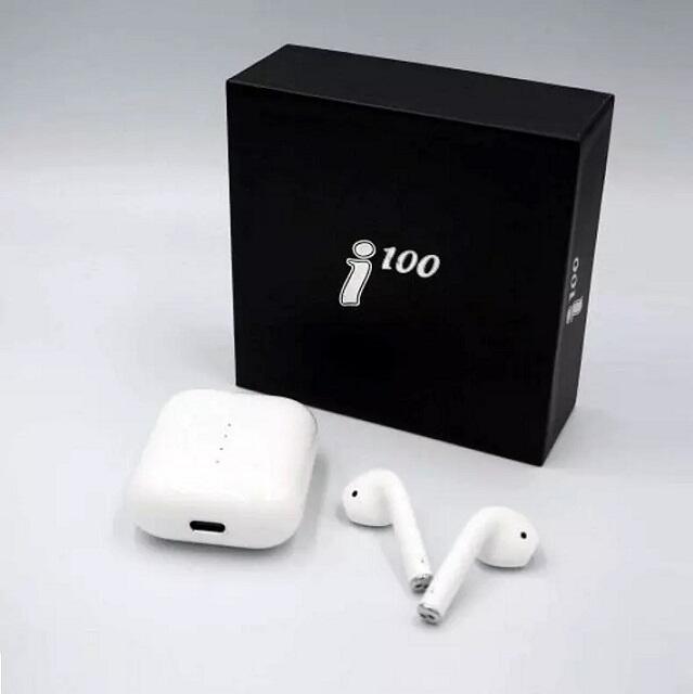 Auricolari Bluetooth 5.0 i100 senza fili, set di 2 auricolari e custodia di ricarica wireless Q10