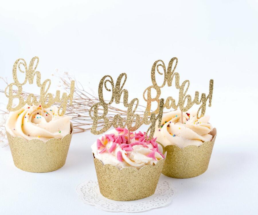 Scritta Oh Baby Set 12 mini CUPCAKE 1 cake topper grande scritta Oh BABY TORTA