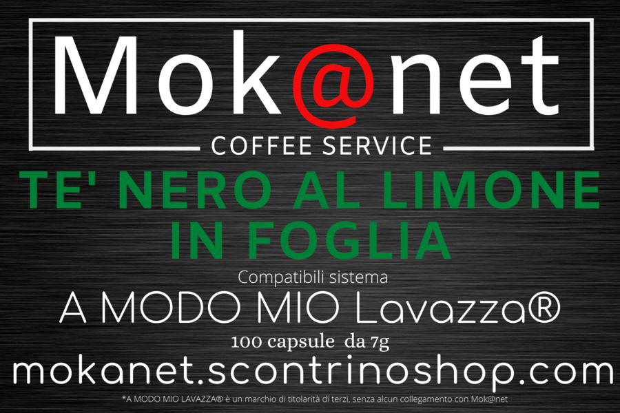 """100 CAPSULE COMPATIBILI A MODO MIO MOK@NET """" THE NERO AL LIMONE IN FOGLIA """""""