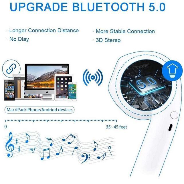 Auricolari senza fili i18 TWS Bluetooth 5.0, con Riduzione del rumore, sportivi, con IPX5